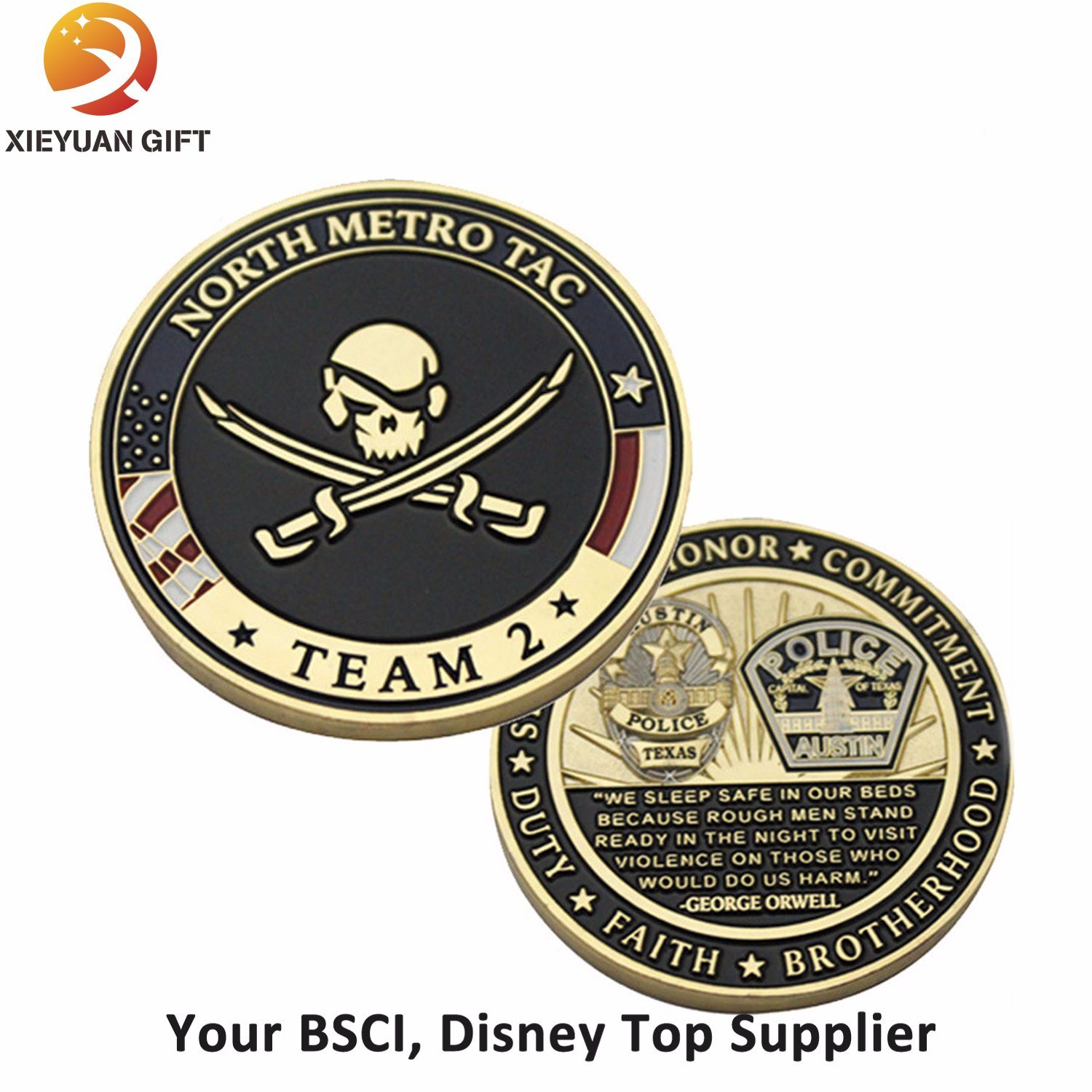 Two Side Engraved Logo Metal Coin - Buy Challenge Coin, Souvenir