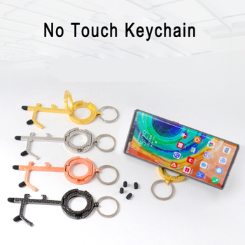 Latest No Touch Ring Key Chain Door Tool Opener Brass touch screen Bottle Keychain