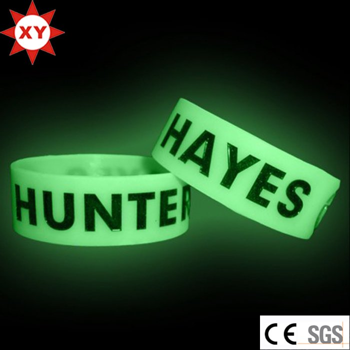 Custom Logo Luminous Silicone Wristband Glow in The Dark