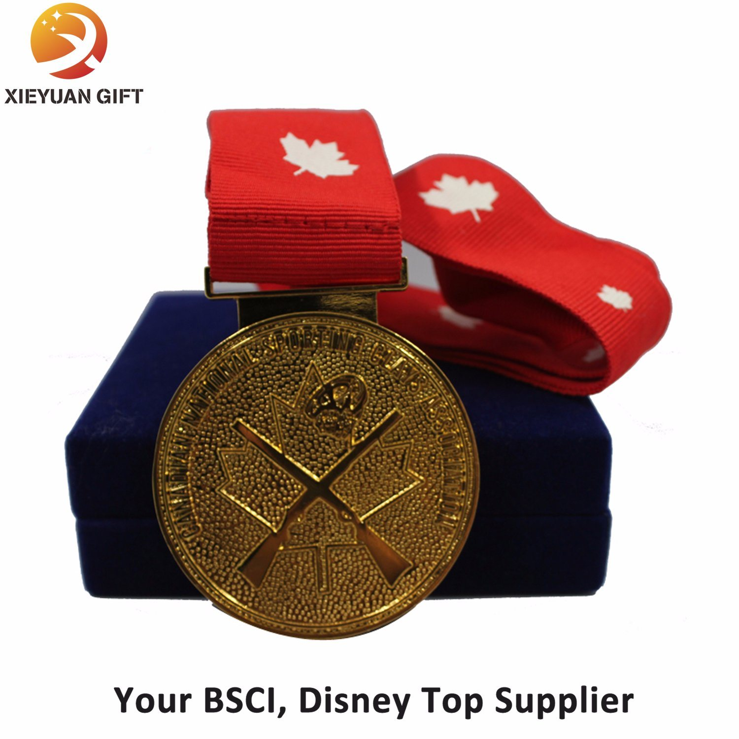 Hot Sales Gold Metal Medal with Ribbon