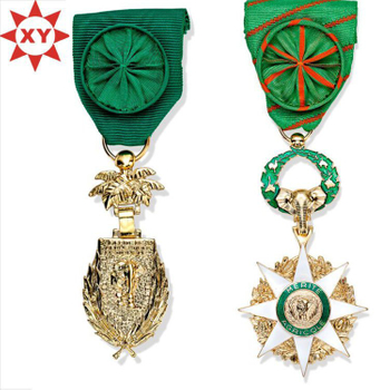 Africa Medals Plated Gold with Fashion Handmade Green Ribbons