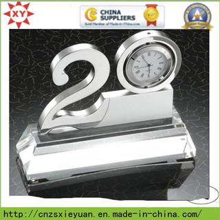 Metal Trophy with Clock