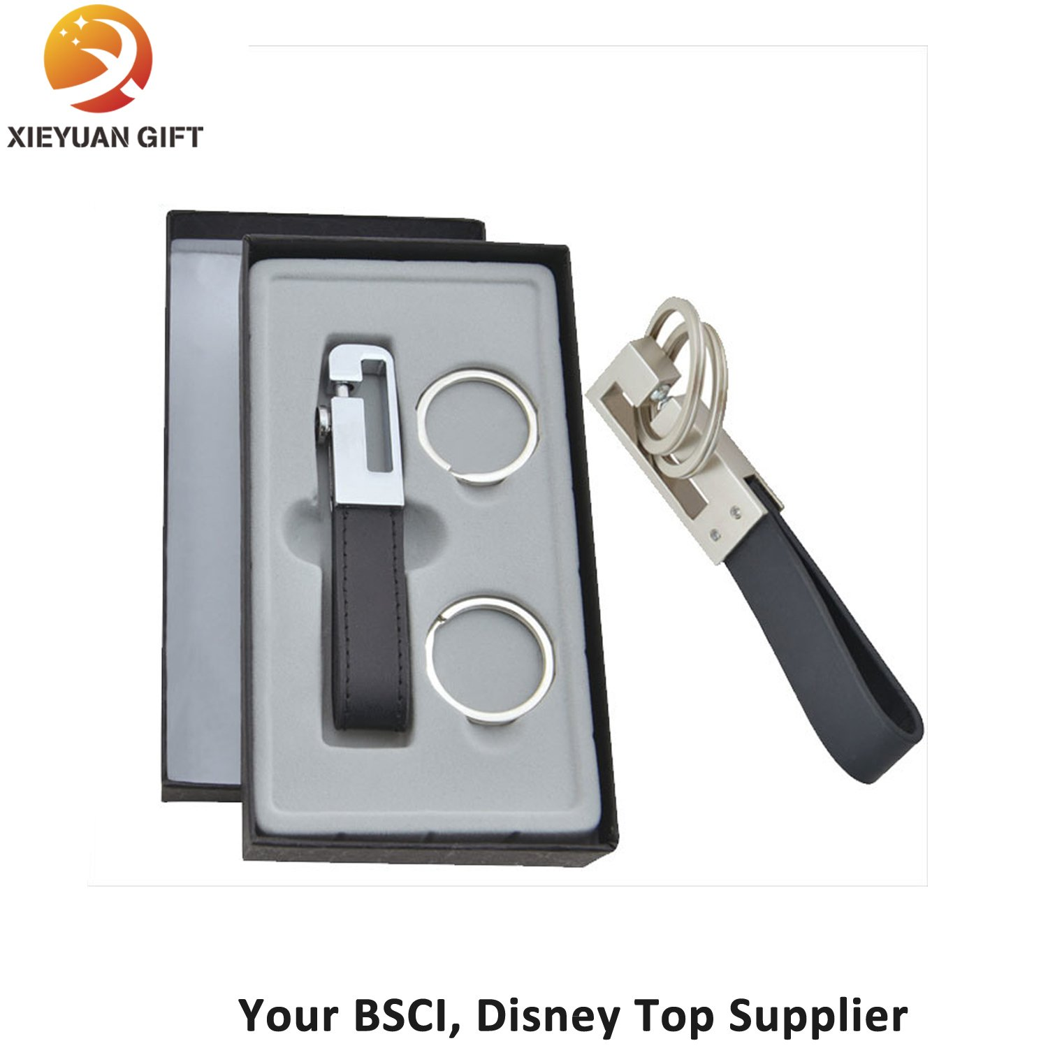Black Leather Key Chains Buckle Key Rings with Gift Box