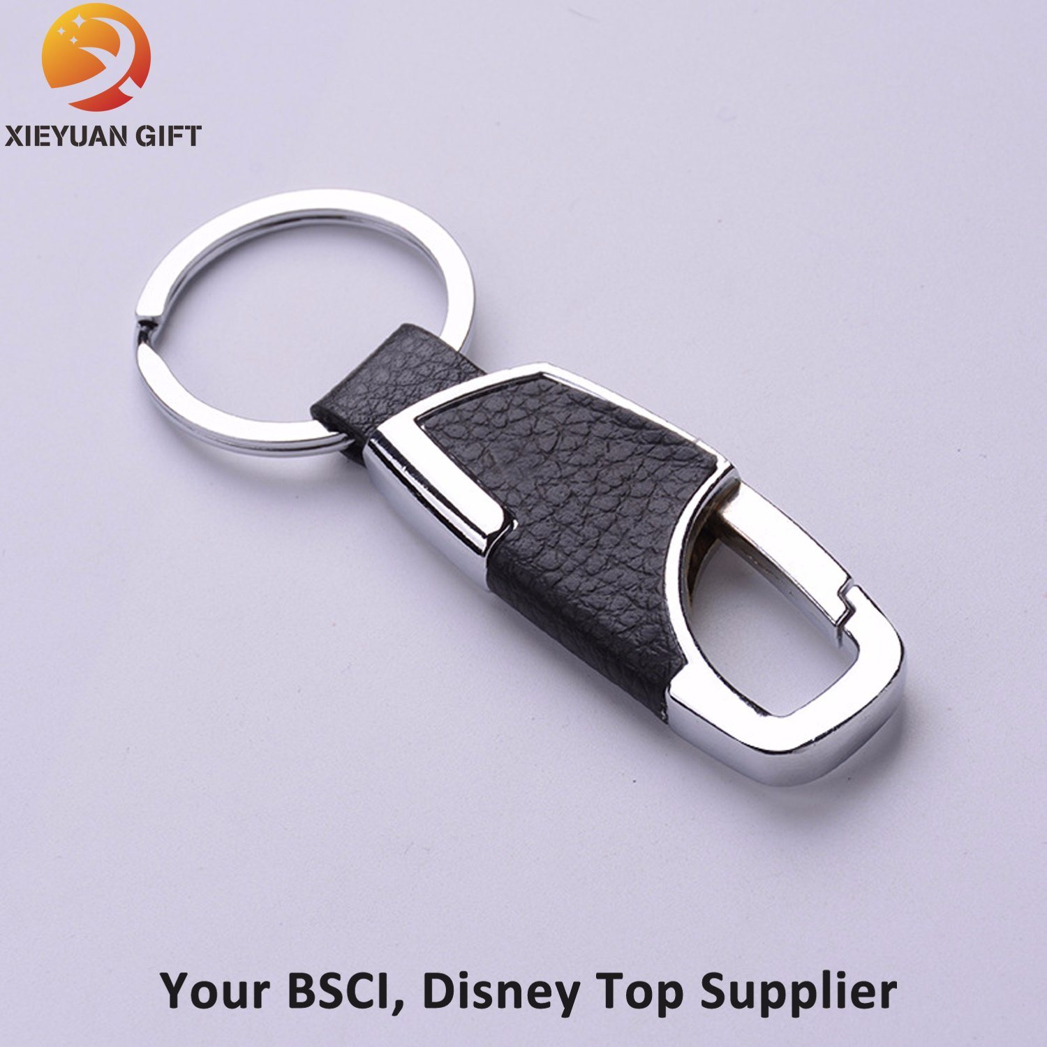 Retractable Leather Keychain