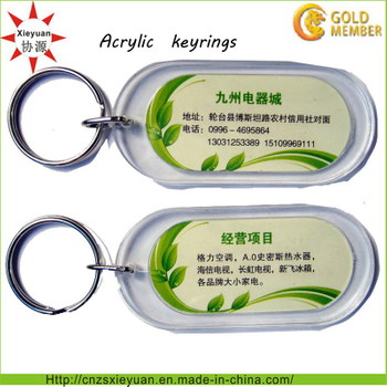 Custom Design Transparent Promotion Acrylic Key Rings for Gifts