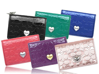 Lady Fashion Leather Colorful Name Card Holder with Metal Heart Design Decoration
