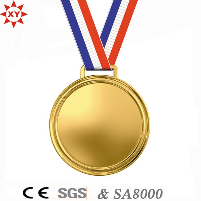 Custom Blank Gold Metal Medal with Nylon Ribbon