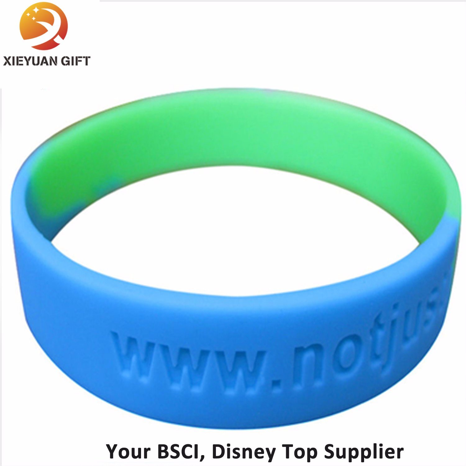 Custom Silicone Wristbands Blue and Green Color Made in China