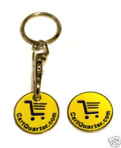 Gold Plated Zinc Alloy Yellow Shopping Cart Coin Token