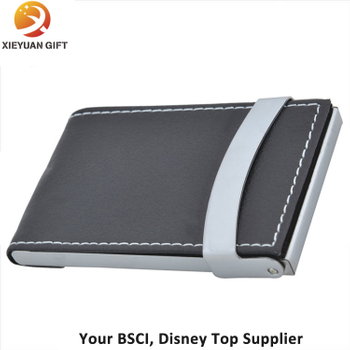 Fashion Business Card Holder with Black Leather Opened