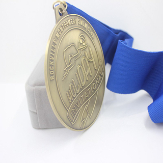 7.3cm Engraved Embossed Logo Antique Bronze Swimming Medal