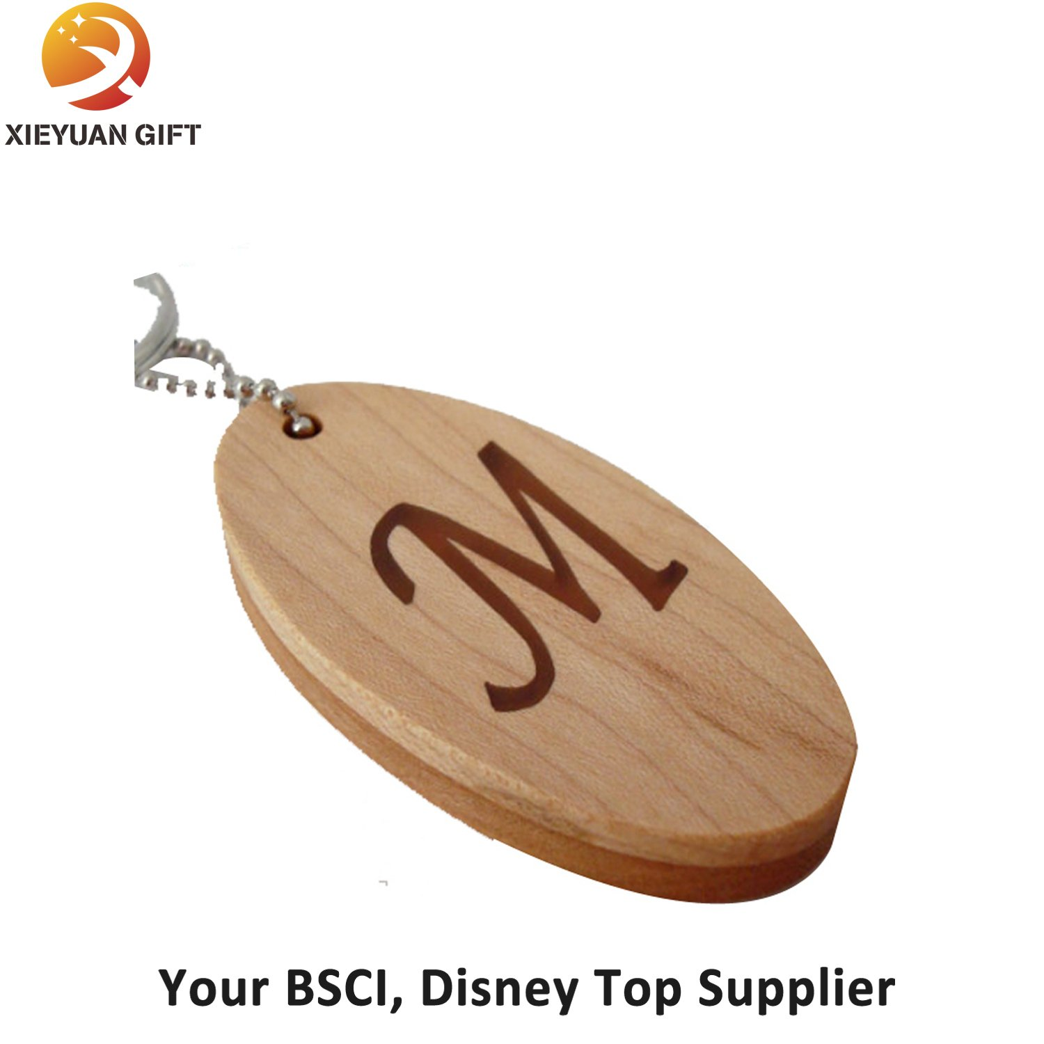 Oval Shape Wood Strap Engrave Logo with Ring