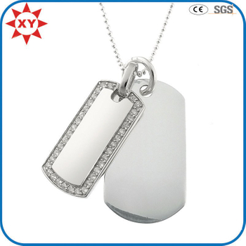 Thin CZ Border Dog Tag Double Silver Personalised