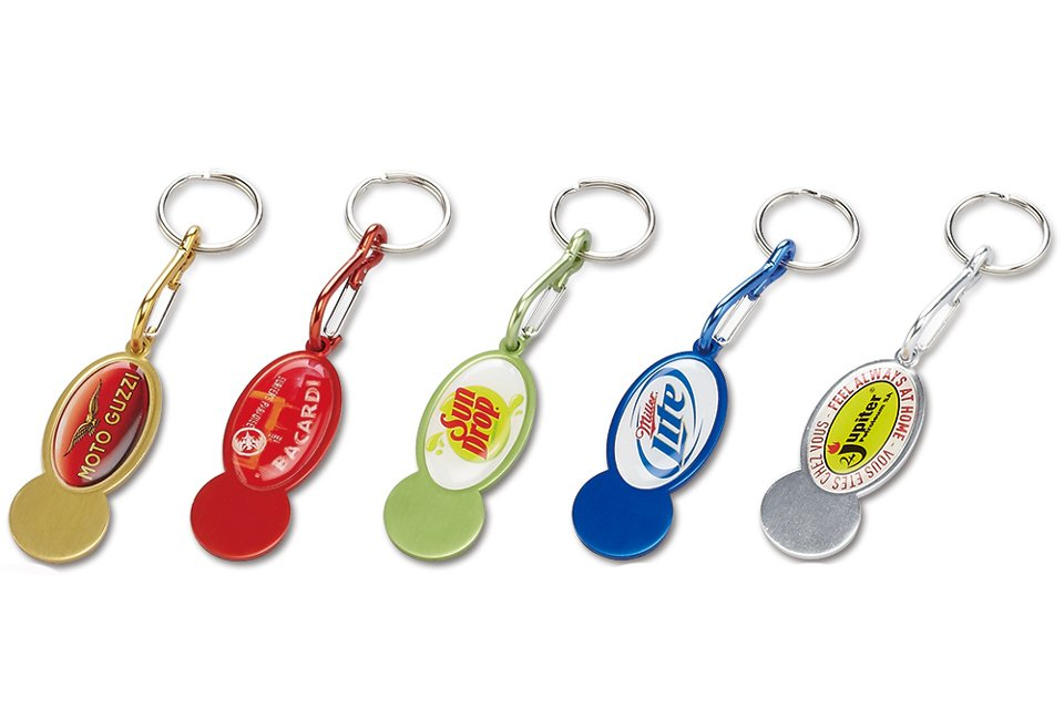 2015 Newest Bright Colorful Aluminum Trolley Coins Keychains