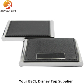 Black Leather Name Card Business Card Holder Opened