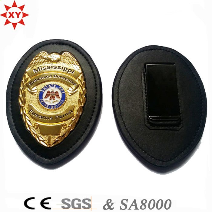 Custom Leather and Metal Police Badge for Us