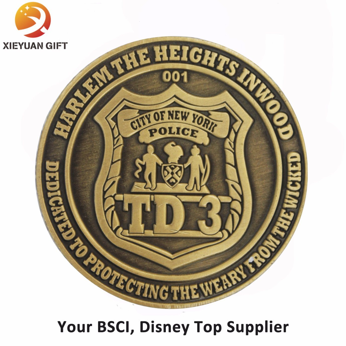 BSCI Disney Top Supplier Make Brass 3D Challenge Coin