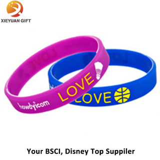 Embossed Wristband Customize Silicone Bracelet 3D Gold Supplier