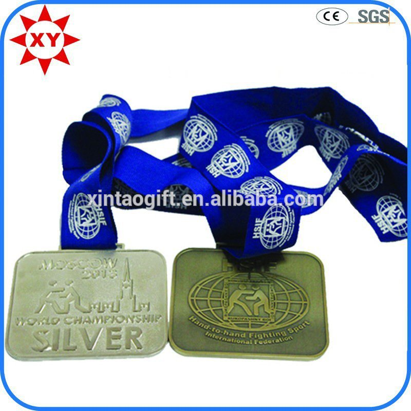 Souvenir Items Bronze Plated Rectangular Medals with Ribbon
