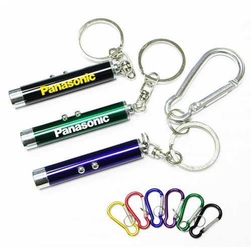 Custom Dual Function Laser Logo Colorful Flashlight Keychains with Carabiners