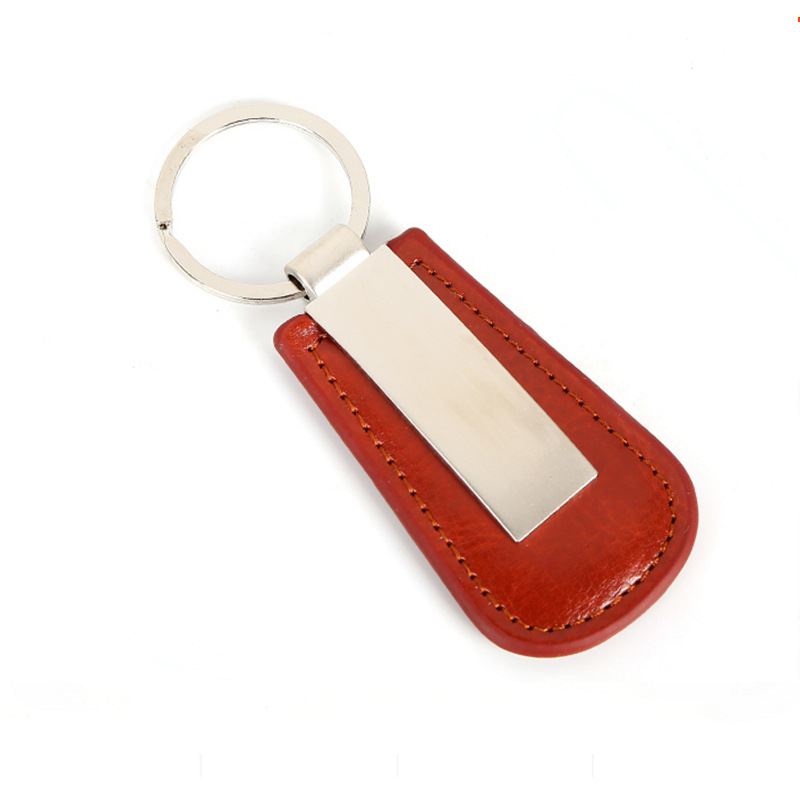 Factory high quality Supply Black Custom Pu Leather Keychain for Car