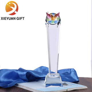 Factory custom owl crystal trophy